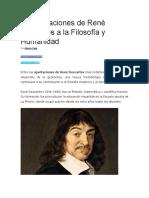 10 Aportaciones de René Descartes a La Filosofía y Humanidad
