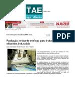 REVISTA TAE - Radiação Ionizante é Eficaz Para Tratamento de Efluentes Industriais