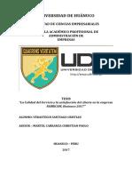 LA CALIDAD DE SERVICIO Y LA SATISFACCIÓN DEL CLIENTE EN LA EMPRESA FABRICAM - HUÁNUCO - 2017