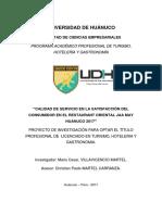 TESIS II CALIDAD DE SERVICIO EN LA SATISFACCIÓN DEL CONSUMIDOR EN EL RESTAURANT ORIENTAL JAA MAY HUÁNUCO 2017