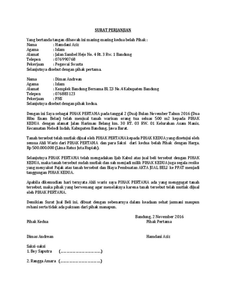 Surat Pernyataan Ahli Waris Jual Beli Tanah