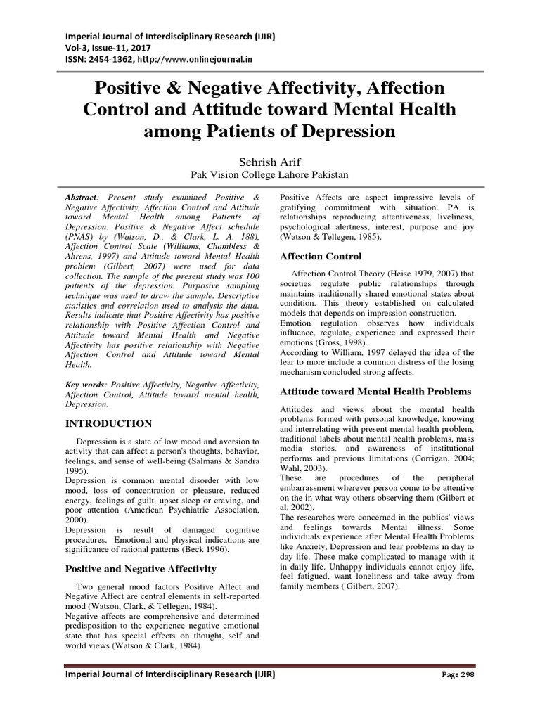 Positive Negative Affectivity Affection Control And Attitude Toward Mental Health Among Patients Of Depression
