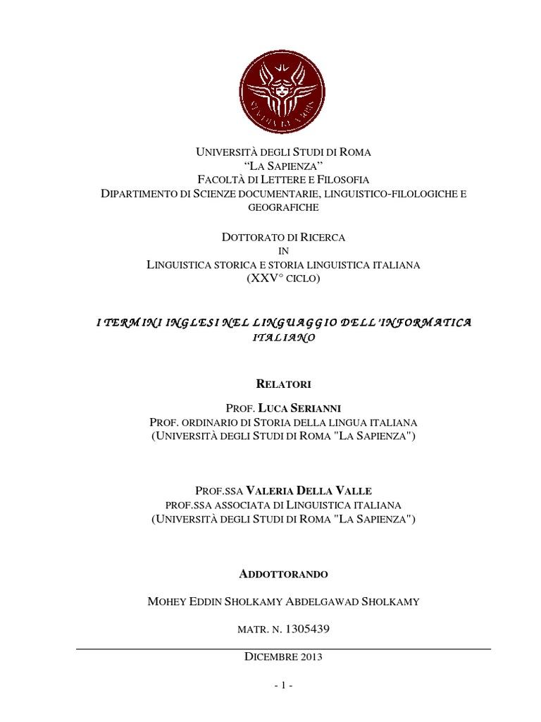 Tesi Di Dottorato - i Termini Inglesi Nel Linguaggio Dell Informatica  Italiano 7a78fc31543e