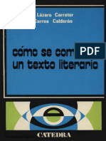 Laìzaro Carreter Coìmo Se Comenta Un Texto Literario