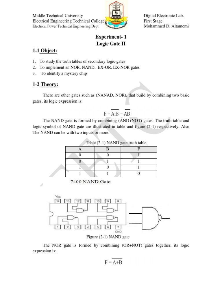Exper 2 secondary logic gate logic gate digital electronics biocorpaavc