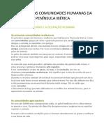 AS PRIMEIRAS COMUNIDADES HUMANAS DA PENÍNSULA IBÉRICA