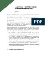 Variable Aleatoria y Distribuciones Discretas de Probabilidades