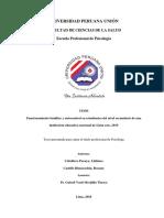 Funcionamiento Familiar y Autocontrol en Estudiantes Del Nivel Secundario de Una Institución Educativa Nacional de Lima Este, 2015