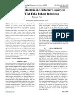 Effect of Satisfaction on Customer Loyalty in Bimbel Tiki Taka Bekasi Indonesia