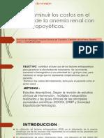 El reto de disminuir los costos en el tratamiento de la anemia renal con factores eritropoyéticos.