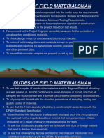 Duties of Field Materialsman