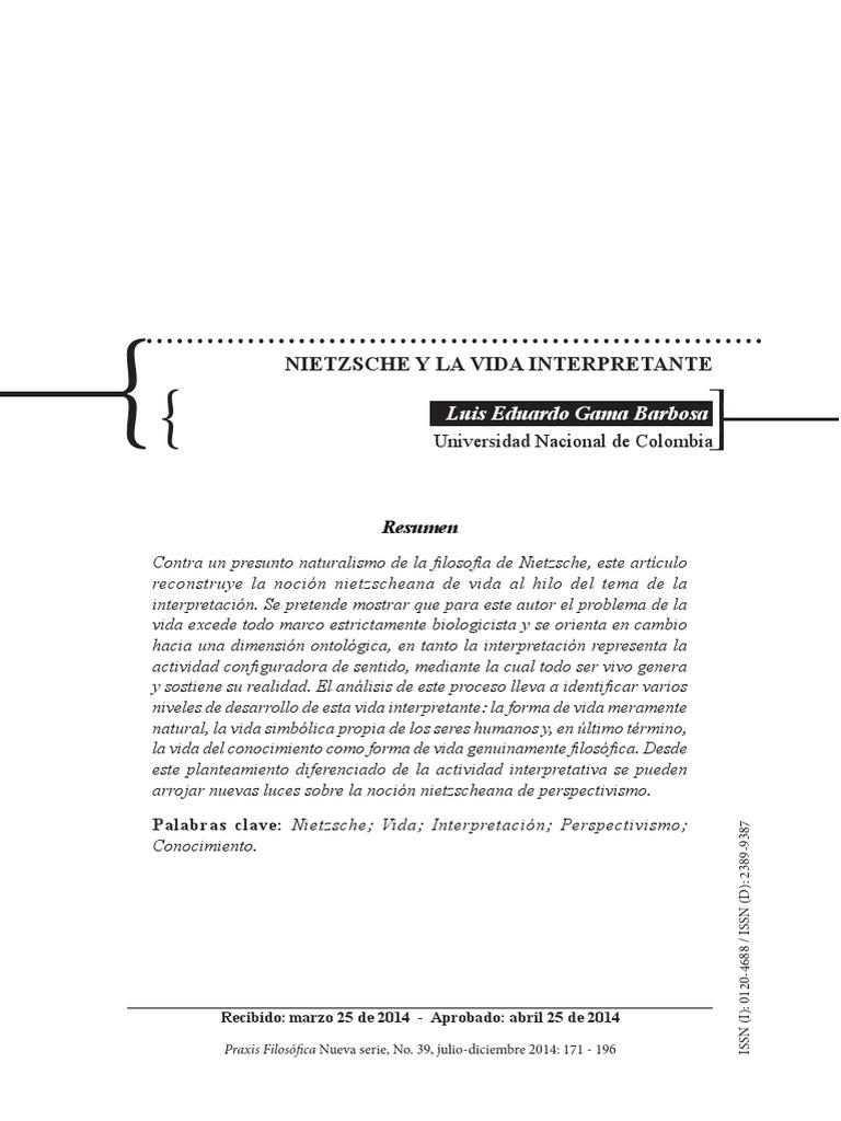 Nietzsche y La Vida Interpretante - Luis Eduardo Gama
