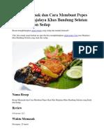 Resep Memasak Dan Cara Membuat Pepes Ikan Mas Majalaya Khas Bandung Selatan Yang Enak Dan Sedap