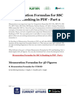 Mensuration Formulas for SSC and Banking in PDF Part 2