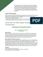 Tes TOEFL Bagian Reading Comprehension Section Bertujuan Untuk Menguji Kemampuan Anda Dalam Memahami