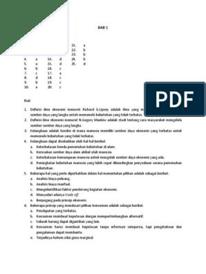 Kunci Jawaban Ekonomi Sma Kelas X K2013n