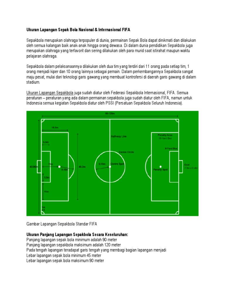 Ukuran Panjang Dan Lebar Lapangan Sepak Bola Berbagai Ukuran