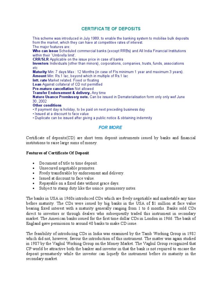 Certificate Of Deposite Certificate Of Deposit Interest