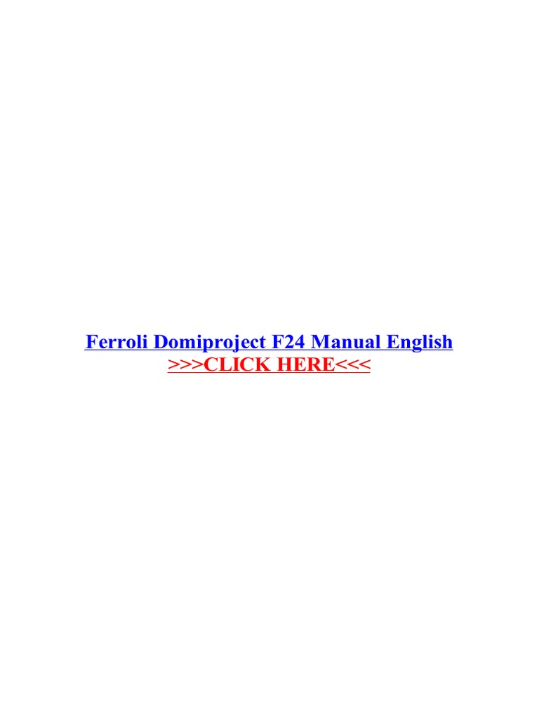 Ferroli Domiproject F24 Manual English Computing