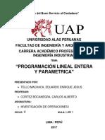 PROGRAMACIÓN LINEAL ENTERA Y PARAMETRICA