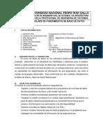 Silabo de Fundamentos de Base de Datos 2015-I