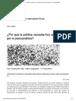 ¿Por Qué La Política Necesita Hoy Ser Iluminada Por El Psicoanálisis_ – ZADIG-ESPAÑA