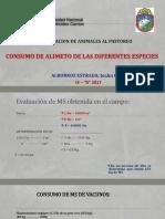 CONSUMO DE ALIMENTO DE LAS DIFERENTES ESPECIES