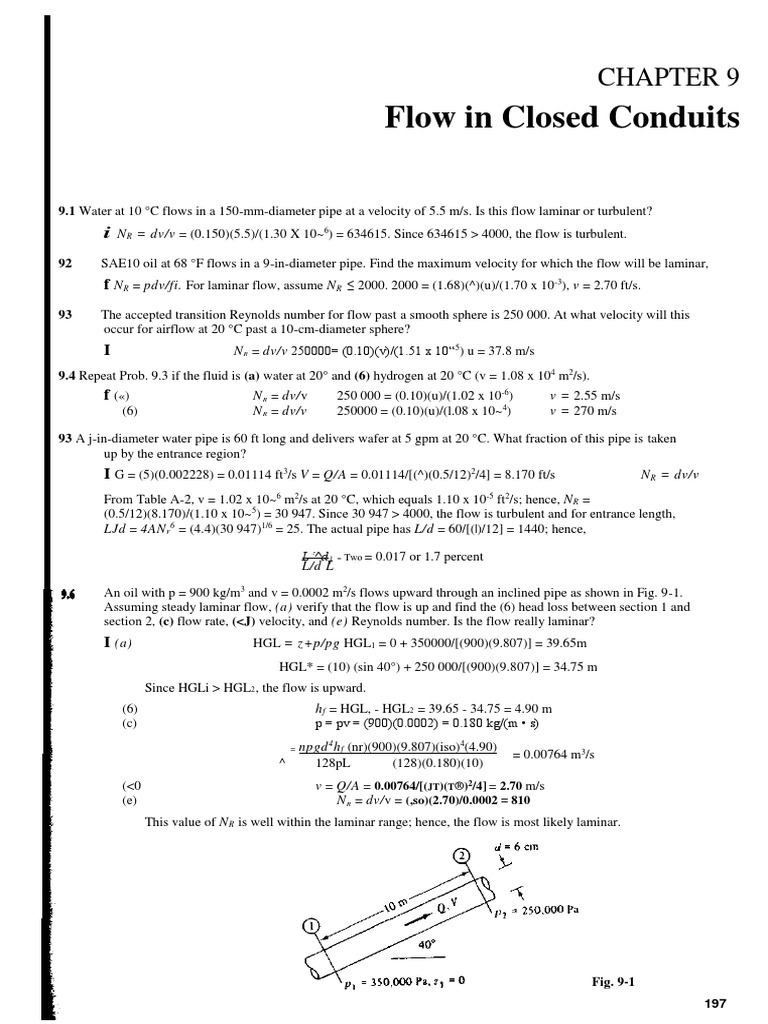 Chapter 9 Flow in Closed Conduits   Reynolds Number   Fluid
