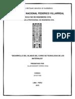 Silabus Tecnologia de Los Materiales 1