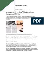 Denuncias de Revista Veja Deterioran Imagen de Bolivia