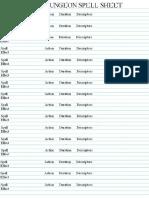 Dice & Dungeon Spell Sheet