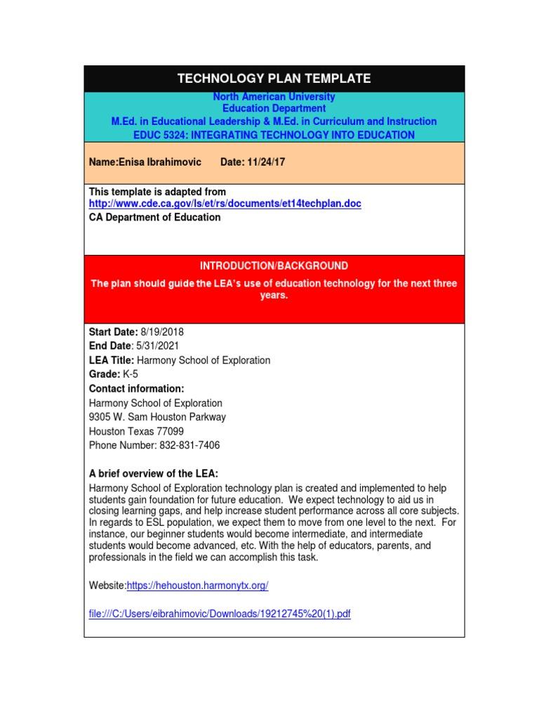 Educ 5324 Technology Plan Template Enisa Educational Assessment