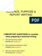 Audience, Purpose and Report Writing