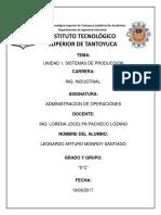 Administración de Operaciones Unidad 1