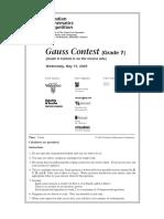 2003 Gauss 7 Contest