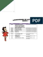 Cronograma de Actividades Basico 1 Agosto 2