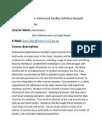 Academy for Advanced Studies Syllabus Sample