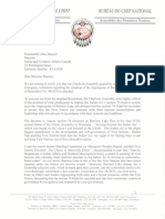 AFN National Chief Shawn Atleo letter to Indian Affairs Minister John Duncan on Barriere Lake