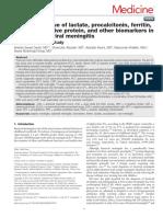 Diagnostic Value of Lactate, Procalcitonin, Ferritin, Serum-C-reactive Protein