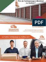 Comparez 3 Prix pour votre entreposage à Québec ou Montréal