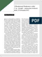 """Sprawozdanie z II Konferencji Naukowej z cyklu """"Lustro mediów"""" pt. """"Google – uniwersum wolności czy opresji"""", Gdańsk, 10 listopada 2017"""