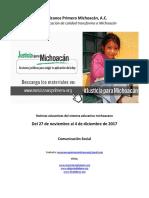 Síntesis Educativa Semanal de Michoacán del 04.12.2017