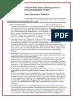 elm 460 - ss lesson formal observation reflection