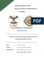 Municipalidad de tinta informe final de ingresos y egresos