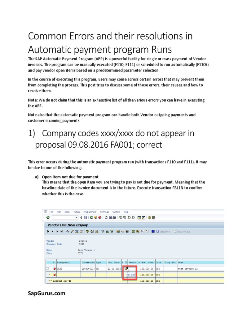 Common Errors And Their Resolutions In Automatic Payment Program - Open invoice meaning