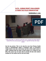 RIGHT TO HEALTH – HUMAN RIGHT CHALLENGES AND LESSON FROM THE POLIO ERADICATION