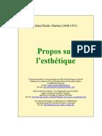 Alain Propos Sur L Esthetique
