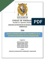 Plan de Comunicación Para El Desarrollo de La Cultura de Seguridad en Una Organización