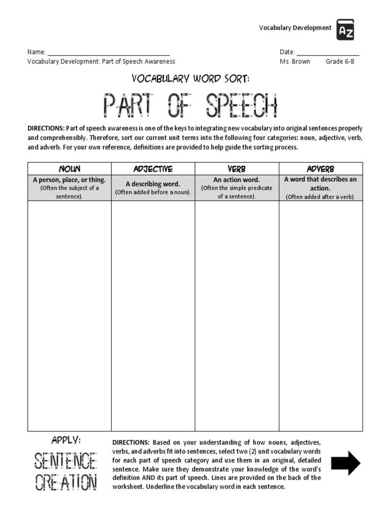 Workbooks nouns verbs adjectives worksheets : vocabulary - part of speech sort adjective noun verb adverb pdf ...