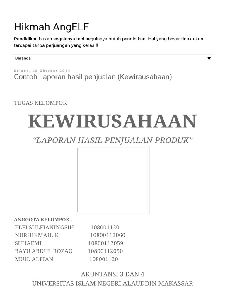Hikmah Angelf Contoh Laporan Hasil Penjualan Kewirausahaan Pdf